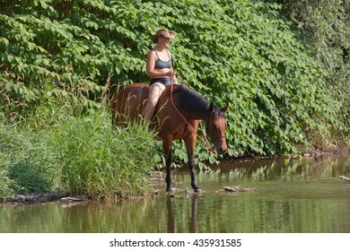 Woman on horse in the water