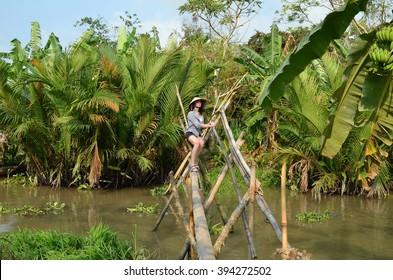 Woman on monkey bridge in Vietnam