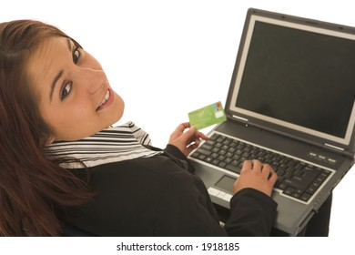 Woman on notebook computer with Credit Card