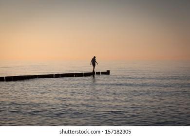 A woman on a pass through the Baltic Sea.