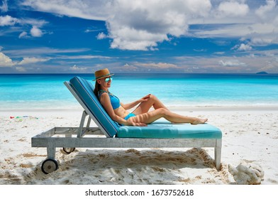 Woman on Petite Anse beach at Seychelles, Mahe
