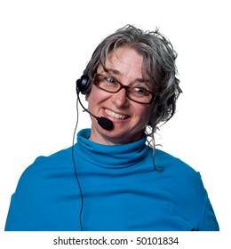 Woman on the phone, customer service representative