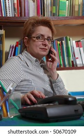 Woman on the phone at her home business desk.