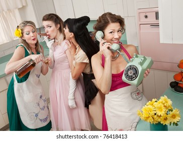 Woman on phone while friends give young woman cigarette and alcohol in a retro styled kitchen scene