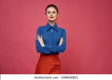 woman on a pink background, fashion