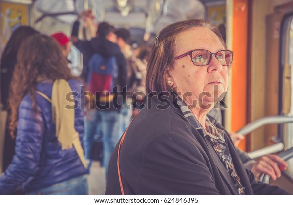 woman on public bus