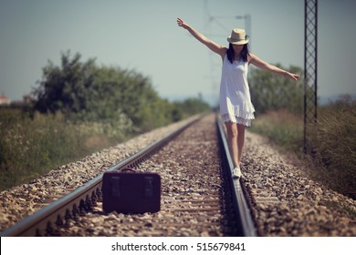 Woman on a railway retro style