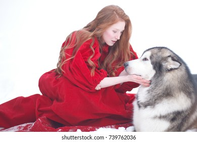 Woman on red dress with dogs. Fairy tale girl with Huskies or Malamute. Christmas.