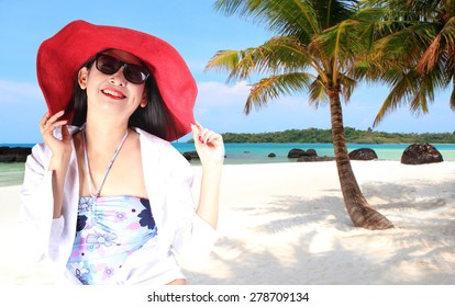 woman on sea beach blue sky sand sun daylight relaxation landscape viewpoint for design postcard and calendar in thailand