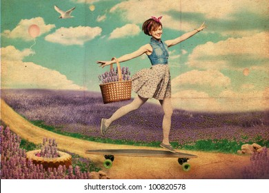 Woman on skateboard goes through field of lavender