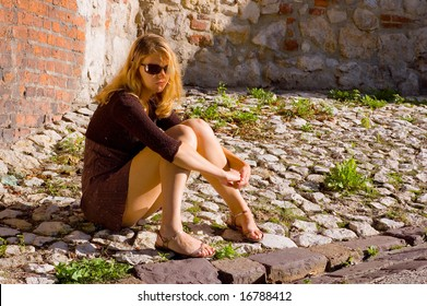 Woman on the stones