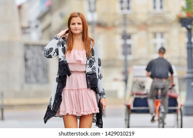 Woman on the street of the city of Lodz