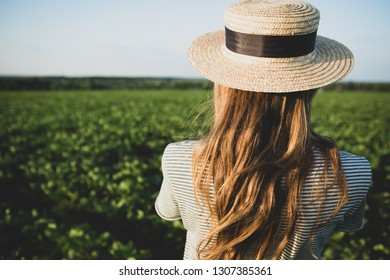 Woman on summer nature