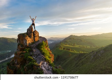 Woman on top mountain in Altai, sunset light, beauty summer landcape - Shutterstock ID 1191758677