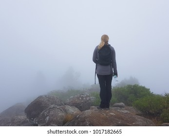A woman on top of a mountain in the presence of mist, Ooty, Tamil Nadu, India
