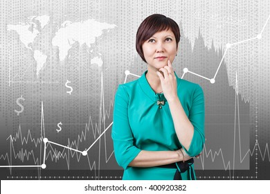 Woman on the traiding graph background