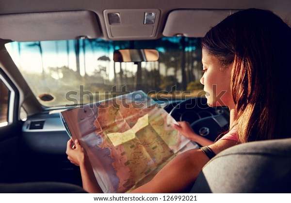 Woman On Vacation Looking Map Directions Stock Photo (Edit ... on car road map, car map parts, car world bugatti veyron, car services, car history, car trip, car driving map,