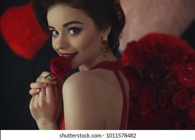 Woman on valentine's day