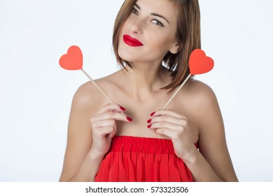 Woman on Valentine's Day