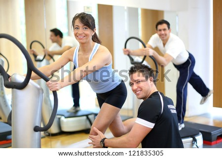 Woman On Vibration Plate Gym Instructed Stock Photo Edit Now