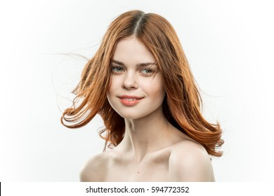 Woman on white background portrait beautiful
