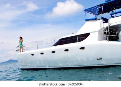 Woman on a yacht.