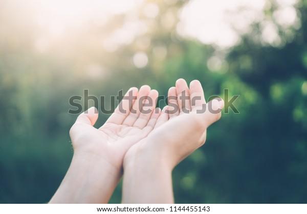 Femme main ouverte jusqu'au coucher du soleil et arrière-plan abstrait feuille flou vert clair de soleil. Style de couleur de filtre de tons vintage.