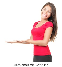 Woman open hands holding copy space. Beautiful business woman wearing red showing empty with open palms.