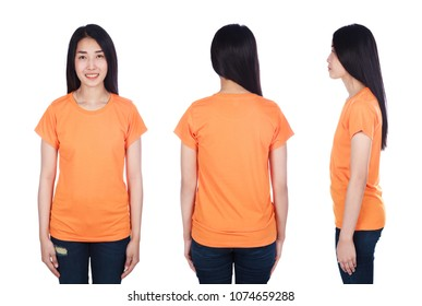 woman in orange t-shirt isolated on a white background