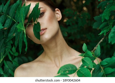 woman outdoors in the park clean skin cosmetology model