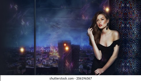 Woman over Futuristic Urban Background of Night City. Fantasy