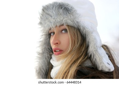 Woman over winter background