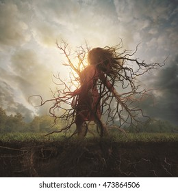 A woman is overtaken by roots and branches.