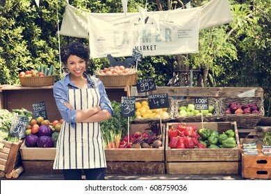 Woman owner fresh grocery organic shop