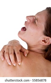 Woman with pain in her neck and shoulder, Isolated medical shot over white background.