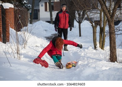 woman in pain on on snowy road