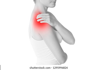 Woman with pain in shoulder isolated on white background, painful area highlighted in red