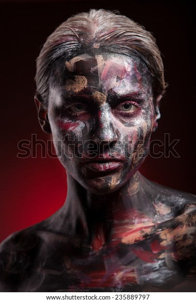 Woman Painted Face Art Body Art Stock Photo Edit Now 235889797