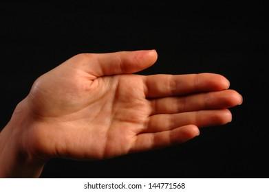 Woman palm photo on black background