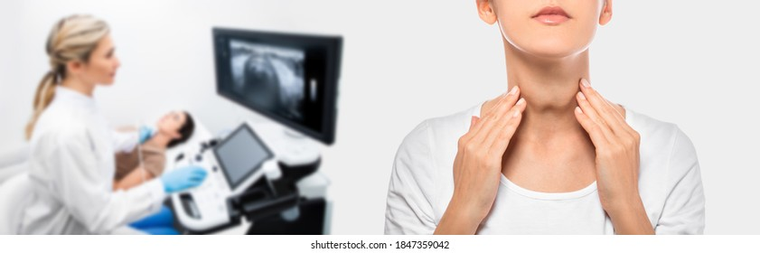 Woman palpation her neck, examine thyroid gland. Enlarged thyroid gland, close up. Medical ultrasound diagnostics of the thyroid gland on background