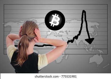 A Woman in panic Bitcoin crash bubble chart