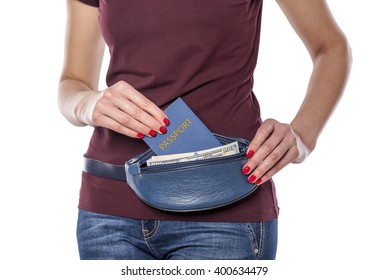 Woman with passport and money in the mobile bag on a white background.