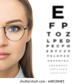 Woman patient checking the eyesight with vision test with eye chart. Portrait of a woman in glasses isolated on white