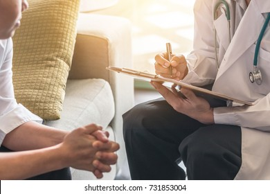 Woman patient having consultation with doctor (gynecologist or psychiatrist) and examining  health in medical gynecological clinic or hospital mental health service center