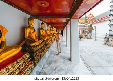 The woman pay respect to the Load Golden Buddha, Wat Pho in Bangkok ,Thailand