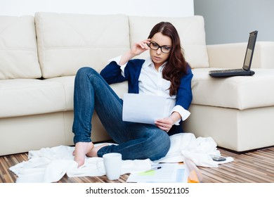 Woman paying bills. Domestic life concept