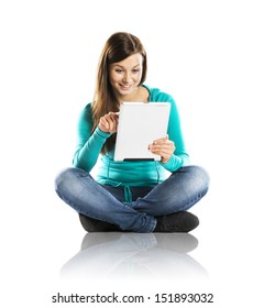 Woman with pc tablet is isolated on white background