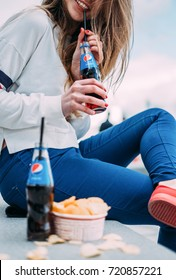 Woman with pepsi