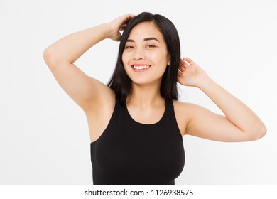 Woman perfect armpit. Asian japanese girl isolated on white background. Summer template blank t shirt clothes. Copy space. Mock up. Spa and skin care concept. Make up