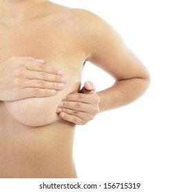 Woman with perfect body examining her breast of mastopathy or cancer, healthcare concept, self palpation over white